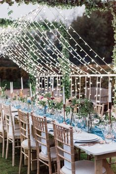 Beautiful autumn wedding table set up in garden with fairy light canopy over the table. Top Table Ideas, Table Set Up, Light Canopy, Canopy Lights, Unique Wedding Stationery, Copper Lantern, Ribbon Bouquet, Walled Garden, Outdoor Wedding Reception