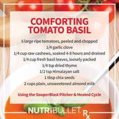 The new NutriBullet Rx also makes soup! Check out this delicious and nutritious Tomato Basil Soup! #nutribulletrx #healthyeating Recipes Dinner, Raw Food Recipes, Veggie Recipes, Cooking Recipes, Diet Recipes, Soup Recipes, Nutribullet Recipes, Smoothie Recipes, Smoothies