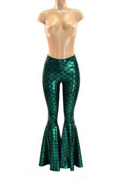 Bell Bottom Flares in Emerald Green Mermaid Scale Leggings with High Waist & Stretchy Holographic Nylon Spandex Fit  150305