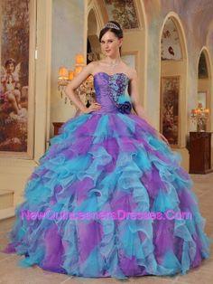 quince dresses   ... Popular Purple and Aqua Blue Quinceanera Dres with Organza Ruffles