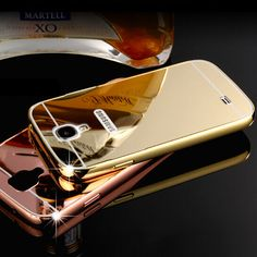 Gold Plated Aluminum Metal Frame And Mirror PC Back Cover Case For Samsung GALAXY S4 SIV S 4 IV i9500 Cell Phone Bag Case