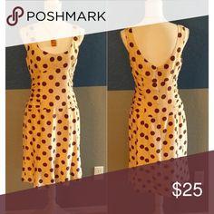 "Nanette Lepore Dress Beautiful Cream/Brown Polka Dot Sleeveless Dress  34"" Bust  53"" Length  Back Zipper  Silk Acetate  Bundle and Save Nanette Lepore Dresses"
