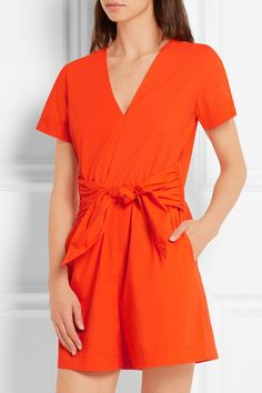 Bright-orange cotton-poplin Concealed hook and zip fastening at back 100% cotton Machine wash or dry clean  Imported