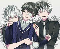 Tokyo Ghoul: Kaneki (eyepatch), Kaneki (ghoul), and Sasaki
