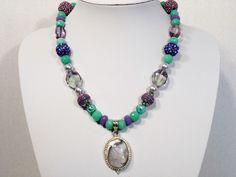Womans Handmade Necklace with a Purple Charoite Pendant Gemstone Designer Beads #Handmade #NecklacePendant