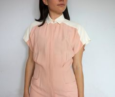 Vintage 90's Minimalist Two Tone Dress/ Peaches by bottleofbread
