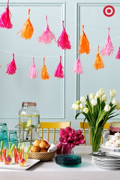 Teal and pink birthday display using Target party supplies Spritz