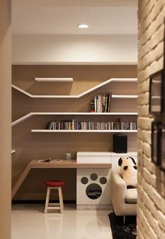 Wall shelves are wonderful ideas for pet furniture design. Lushome presents inspiring wall shelves envisioned by Taiwanese design firm Thinking Design which add wonderful vertical spaces for cats, create plenty of book storage, and provide great inspirations for DIY enthusiasts and pets lovers. W