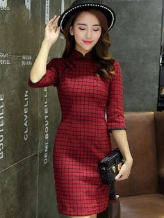 Cozy Sweater Qipao / Cheongsam Dress in Grid Check