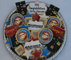 bakedbyrachel: US Marine Corps cookies Military Retirement Parties, Military Party, Retirement Cakes, Retirement Ideas, Retirement Countdown, Retirement Quotes, Usmc Birthday, Marine Corps Birthday, Marine Corps Ball