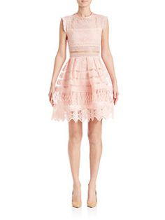 Alexis - Sage Crochet Fit-&-Flare Dress