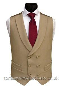 Buff Shawl Collar Double Breasted Waistcoat