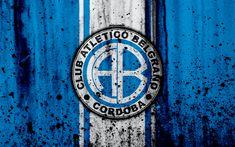 Download wallpapers 4k, FC Belgrano, grunge, Superliga, soccer, Argentina, logo, Belgrano, football club, stone texture, Belgrano FC