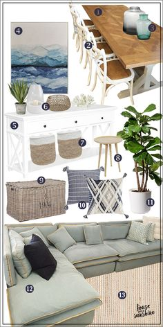 If you can't live at the beach, decorate like you do! This living & dining room mood board will inspire with its blend of modern Hamptons style relaxed coastal living. Hamptons Style Decor, Hamptons House, The Hamptons, Coastal Living Rooms, Living Room On A Budget, Living Room Decor, Dining Room, Coastal Style, Coastal Decor