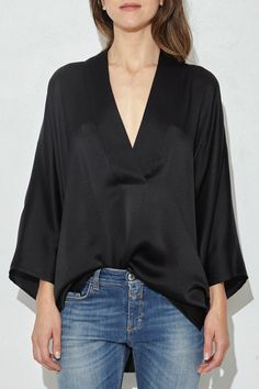 ccd056288c82 Black Pebbled Silk Kimono Top by Nili Lotan