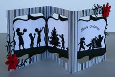 Christmas silhouette card using the Sizzix accordion card die with Best Creation stripped paper.