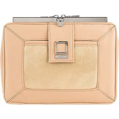 Lencca Esvivina Crossbody Shoulder Bag - Cream / Gold - Crossbody Bags ($48) ❤ liked on Polyvore featuring bags, handbags, shoulder bags, tan, chain shoulder bag, tablet shoulder bag, clear purse, gold purse and clear handbags