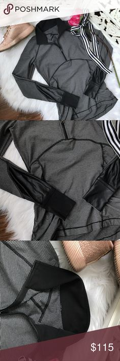 Lululemon 1/4 Zip Striped Pullover Jacket Like new, just pull tag removed! Striped jacket from Lululemon features 1/4 zip, ruched sides and shiny leather-look inset detailing. Sleeves feature fold over cuffins to keep your hands warm. lululemon athletica Jackets & Coats