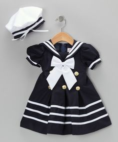 Take a look at this Navy Sailor Dress & Hat - Infant & Toddler by Shanil on #zulily today!