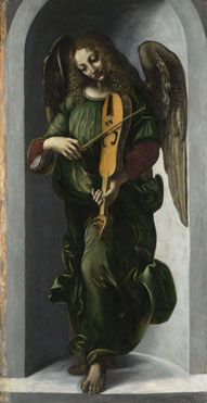 An Angel in Green with a Vielle  about 1490-9, Associate of Leonardo da Vinci (Francesco Napoletano?): Part of the group of panels from S. Francesco Altarpiece, Milan.