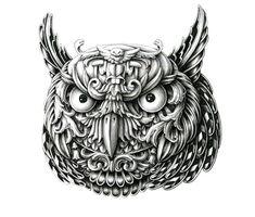Owl. Super Detailed Ink Animal Drawings. By Alex Konahin.