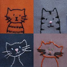 Each of these little kitties has loads of personality and takes less than an… #Embroideryforbeginners
