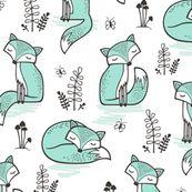 Dreamy Fox in Mint by caja_design