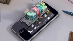 iPhone city  - simple models - c4d cinema4d - playful - whimsical - soft - pastel - cartoon