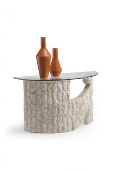 Side Of Modern Table With Barcode Pattern Made Of Steel And Stone. See  More. Ponte Vedra Opulence Natural Mactan Stone Glass Sofa Table Images