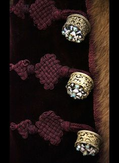Detail - Hungarian early 19th century gold buttons with gemstones;