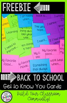 Get to Know You Activity Cards Freebie will help you get to know your students. These sentence starters will get your students talking to each other while creating a classroom community where all your students feel safe to share. These printable cards are great for all elementary classrooms, libraries, or after school clubs. Just print and go!  (second, third, fourth, fifth graders, Grade 3,4,5)