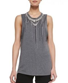 Haute Hippie Chains & Necklaces Muscle Tank Top worn by Rayna Jaymes on Nashville. Shop it: http://www.pradux.com/haute-hippie-chains-necklaces-muscle-tank-top-29246?q=s40
