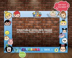TSUM TSUM PHOTOBOOTH Frame, Photo Booth Prop, Printable, tsumtsum Birthday Party 20x30 by TRUSTITI on Etsy