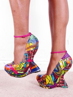 Ankara African Print Patchwork Reconstructed Ankle Platform Chunkly Lady Gaga Heel Shoes size usa 7. $90.00, via Etsy.