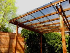 Corrugated plastic roof for porch and deck: Free-Standing Shelter