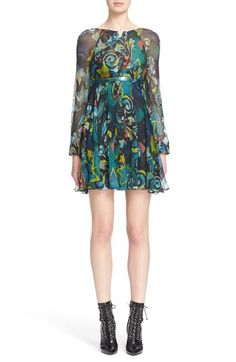 Versace Collection Print Georgette Silk Dress available at #Nordstrom