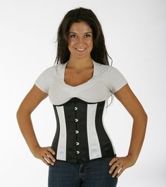 045 black and white satin double steel boned underbust corset