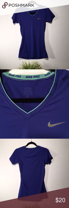 Nike pro top! Size S Nike pro top! Dri-fit. Size small. Excellent condition. Measures 16 in across chest, 20 in long from bottom of v-neck to bottom hem.  Stretchy!   Color is deep purple with mint green trim on top. Make an offer 🤗 Nike Tops