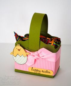 Cute Little Easter Basket made with the Two Tags die from SU! Christmas Paper Crafts, Easter Crafts, Crafts For Kids, Easter Decor, Easter Ideas, Berry Baskets, Candy Favors, Candy Containers, Treat Holder