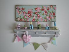 Dollhouse 1 Inch Scale  Shelf with Village heart bunting and Cherry Blossom Painting.