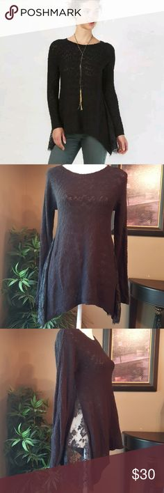 LC Lauren Conrad Black Sweater with Lace Lauren Conrad Deco Decadence Black Sweater. Handkerchief hem with lace details, Crewneck, Long sleeves. LC Lauren Conrad Sweaters