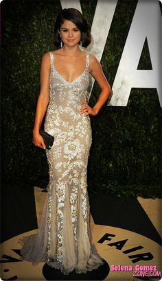 Selena Gomez wore a Dolce&Gabbana gown to the 2012 Vanity Fair Oscar Party.