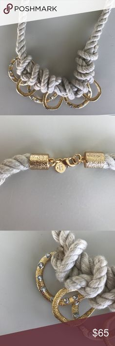 """Nautical beauty Alexis Bittar fashion rope, gold and crystal necklace, around 18"""" Alexis Bittar Jewelry Necklaces"""