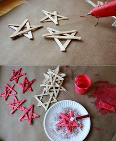 Stars make ice stalks - DIY - noel Homemade Christmas Presents, Christmas Crafts, Christmas Decorations, Christmas Ornaments, Christmas Christmas, Kids Crafts, Deco Table Noel, Wine Craft, Navidad Diy