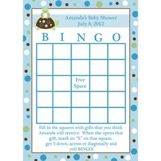 24 Personalized Baby Shower Bingo Cards    - Turtle and Frog - BLUE