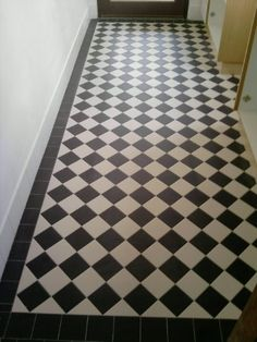 - Black and White Checkerboard Hall Tiles, Tiled Hallway, Modern Hallway, Black And White Hallway, Black And White Tiles, Edwardian Bathroom, Edwardian House, Victorian Hallway, Victorian Tiles
