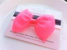 Girls/Baby Headband Neon Pink Bow Headband by BowtiquebyprincessT, $8.90