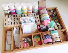 craft organization ideas with a printer tray | NoBiggie.net