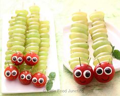 The Hungry Caterpillar! Just thread some grapes and a cherry tomato on a wooden skewer. Little circles of cheese with a smaller circle of cucumber skin could be used for the eyes. Enjoy! Don't forget to get the kids to help and while they're making them explain where grapes and tomatoes are grown!