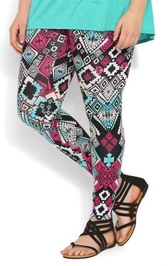 Deb Shops Plus Size Jade and Magenta Tribal Print #Legging $12.50